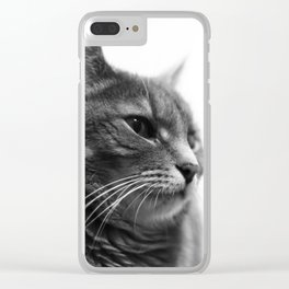 Always a Cat- Black and white photo of a cat Clear iPhone Case