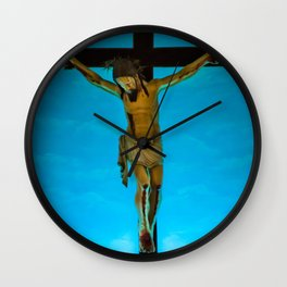 Jesus on the cross in St. Jerome's church in Goa, India Wall Clock
