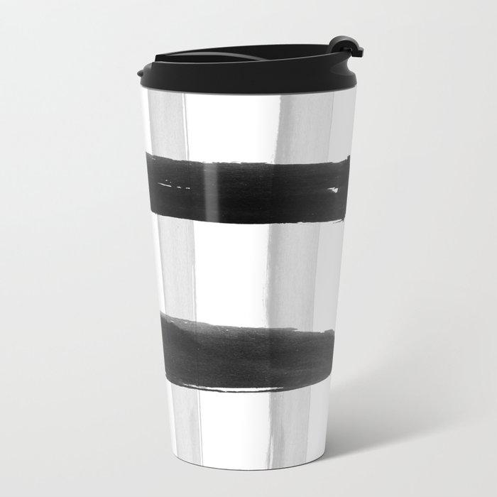 Black and White Brush Strokes Metal Travel Mug