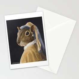 Squirrel with a Pearl Earring Stationery Cards