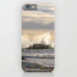 Waves splash crashing against rocks iPhone Case