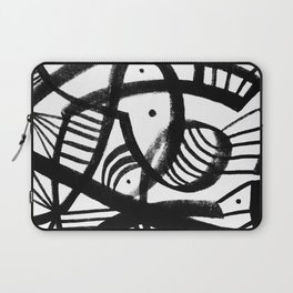 Black and white abstract mid century Laptop Sleeve