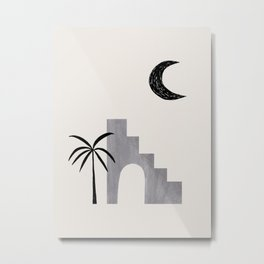 Grey Minimalist Modern Mid Century Ancient Ruins Architecture Moon Lit Palm Trees by Ejaaz Haniff Metal Print