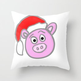 Christmassy Pig Throw Pillow