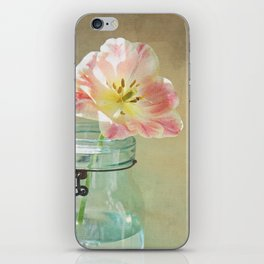 Pink Tulip on Vintage Canvas iPhone Skin