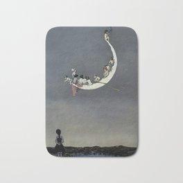 """ Moon's First Voyage"" Fairy Art by W Heath Robinson Bath Mat"