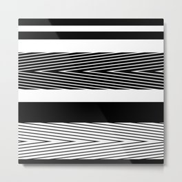 Black and white abstract striped pattern Metal Print
