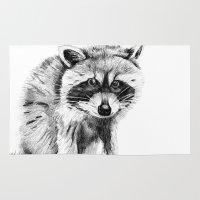 raccoon Area & Throw Rugs featuring Raccoon by Trey Crim