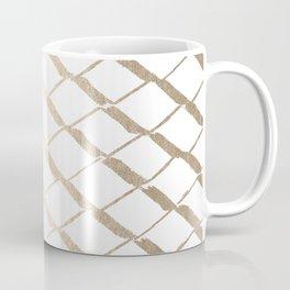 Luxe Gold Diamond Lattice Pattern on White Coffee Mug