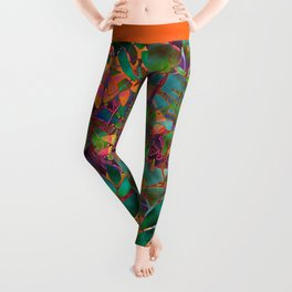 Floral Abstract Stained Glass G176 Leggings