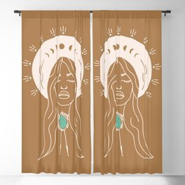 Desert Angel in Camel & Turquoise Blackout Curtain