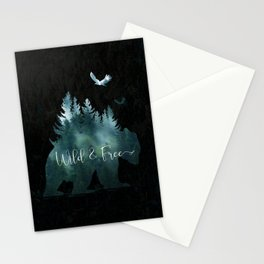 Wild and Free grizzly bear typography Stationery Cards