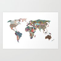 vintage map Art Prints featuring Louis Armstrong Told Us So by Bianca Green