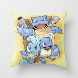 The evolutions of Squirtle Throw Pillow
