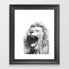 Black White Fierce Lion Framed Art Print