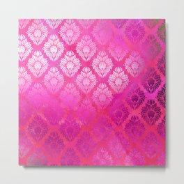 """""""Magenta Pink Damask Pattern"""" Metal Print"""