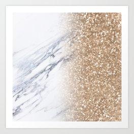 Bronze Copper Gold Glitter White Gray Marble Luxury III Art Print