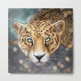 Snow, Leopard Metal Print