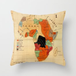 Map Of Africa 1908 Throw Pillow