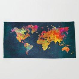 World Map blue #world #map Beach Towel