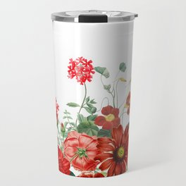 Vintage & Shabby Chic - Red Summer Flower Garden Travel Mug