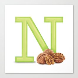 N is for Nuts Canvas Print
