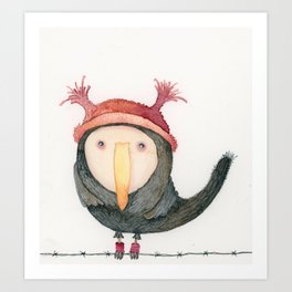 Like a bird on a wire Art Print