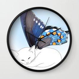 White Kitten Fairy Wall Clock