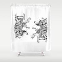 clockwork Shower Curtains featuring clockwork bear by vasodelirium