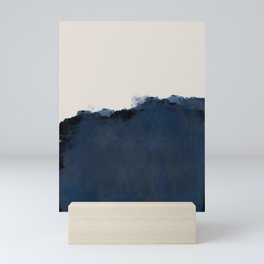 Abstract, blue, beige, indigo Mini Art Print
