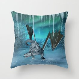 Wonderful ice dragon in the winter landscape Throw Pillow