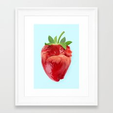 STRAWBERRY HEART Framed Art Print