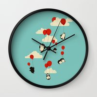 clouds Wall Clocks featuring We Can Fly! by Jay Fleck