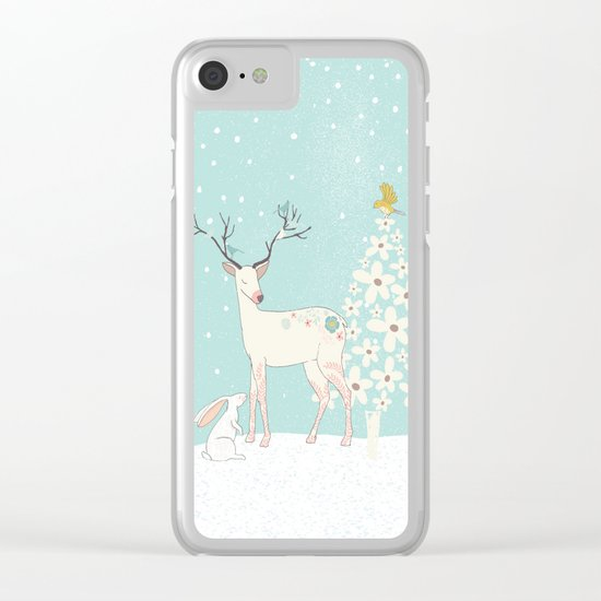 Winterforest with Deer, bunny and tree - Merry christmas! Clear iPhone Case