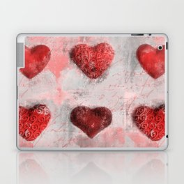Heart Love Red Mixed Media Pattern Gift Laptop & iPad Skin