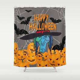 Bats & Witch Happy Halloween Shower Curtain