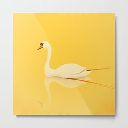 Swan Gliding Beauty Metal Print