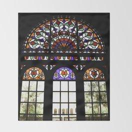 Colorful Rainbow Stain Glass Persian Window Art Throw Blanket