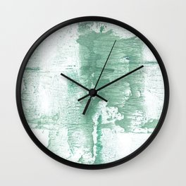 Dark sea green vague watercolor Wall Clock