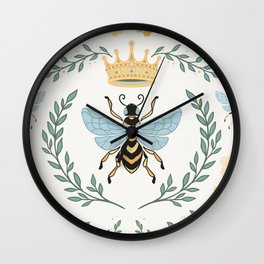 Queen Bee with Gold Crown and Laurel Frame Wall Clock