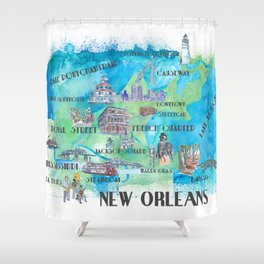 New Orleans Louisiana Favorite Travel Map with Touristic Highlights in colorful retro print Shower Curtain