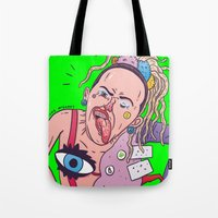 miley Tote Bags featuring Miley by Luke McGarry