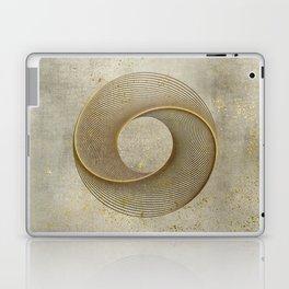 Geometrical Line Art Circle Distressed Gold Laptop & iPad Skin