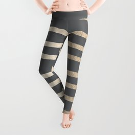 Simply Drawn Stripes White Gold Sands on Storm Gray Leggings