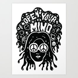 Open Your Mind in black Art Print