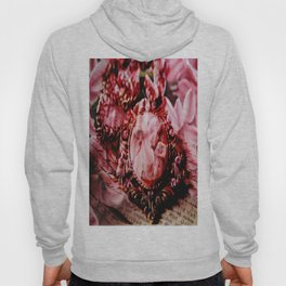 Vintage woman in collar on a unique floral background Hoody