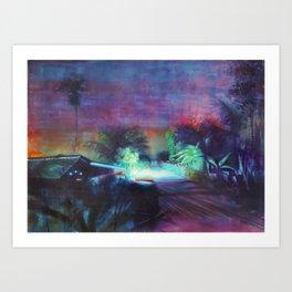 Neontubes & wilderness in Saigon river Art Print