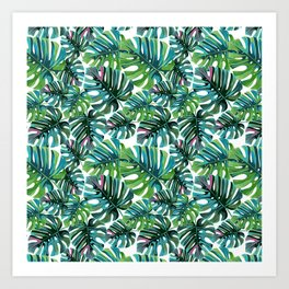 Elephant Tropical Leaves Pattern Art Print