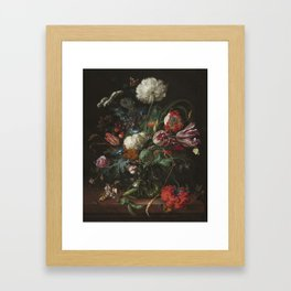 Jan Davidsz de Heem - Vase of Flowers (c.1660) Framed Art Print