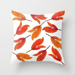 Falling Leaves Watercolor Pattern Throw Pillow